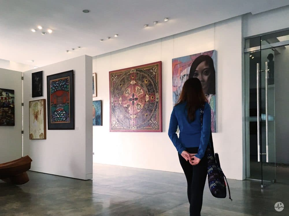 Photo of a visitor viewing the paintings in BenCab Museum