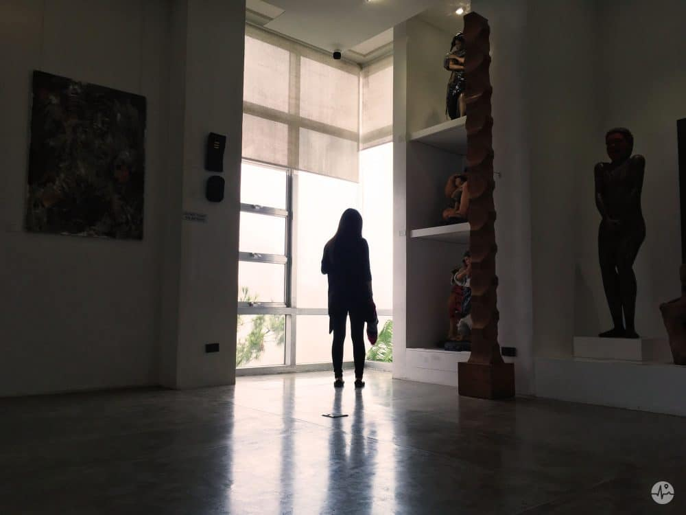 Picture of a Visitor in BenCab Museum at the mountain view window