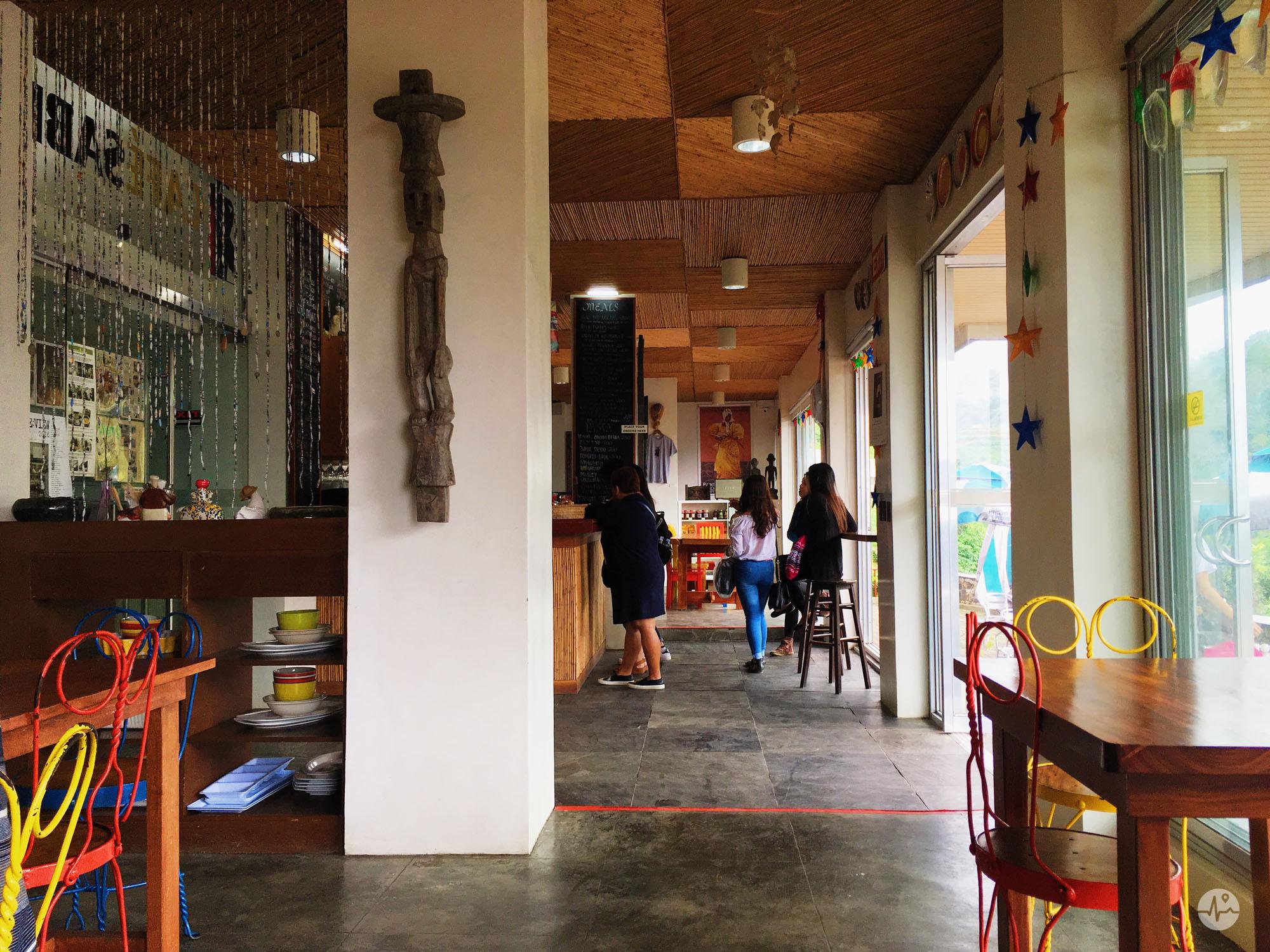 Photo Inside Cafe Sabel in BenCab Museum seeing the Cordillera Designs