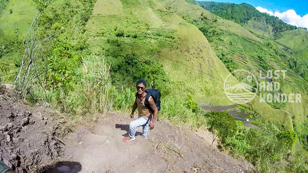 Climbing down the Buscalan Cliff