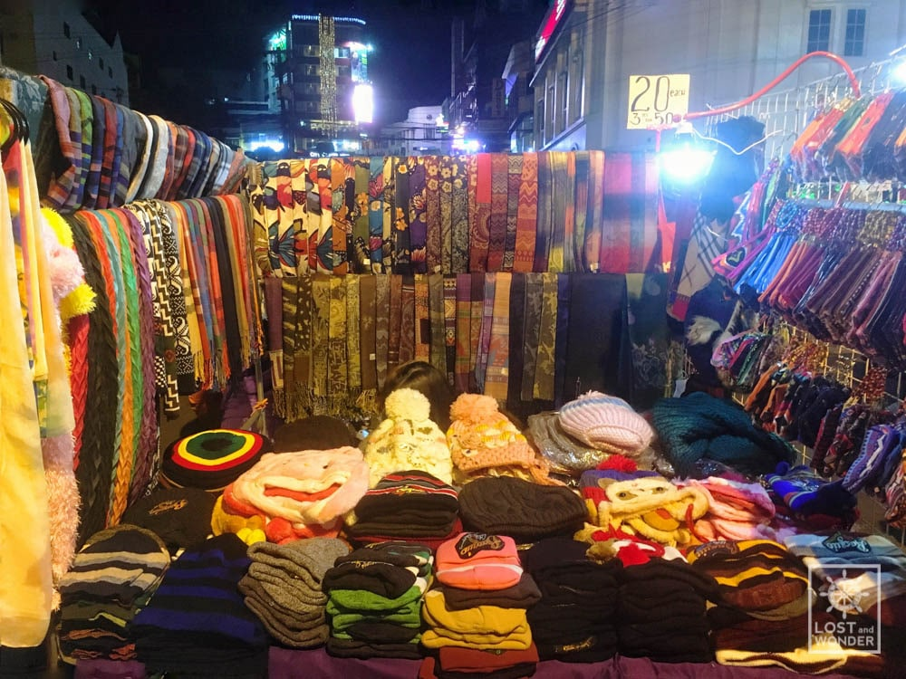Photo of scarfs and bonnets in Baguio Night Market