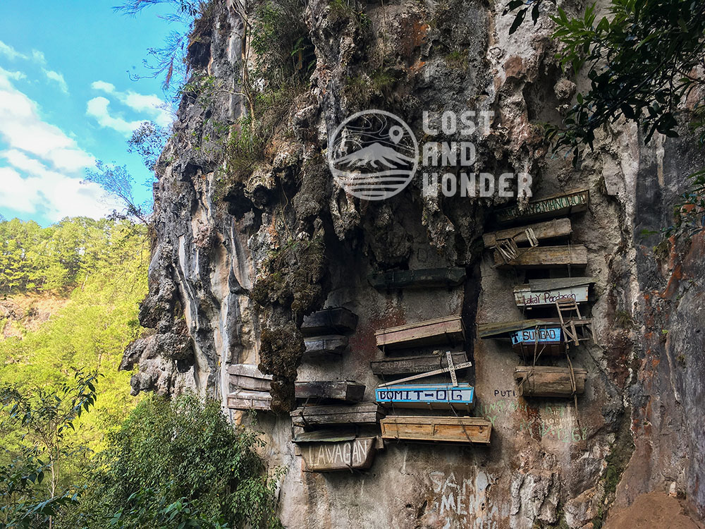 Photo of hanging coffins in Sagada