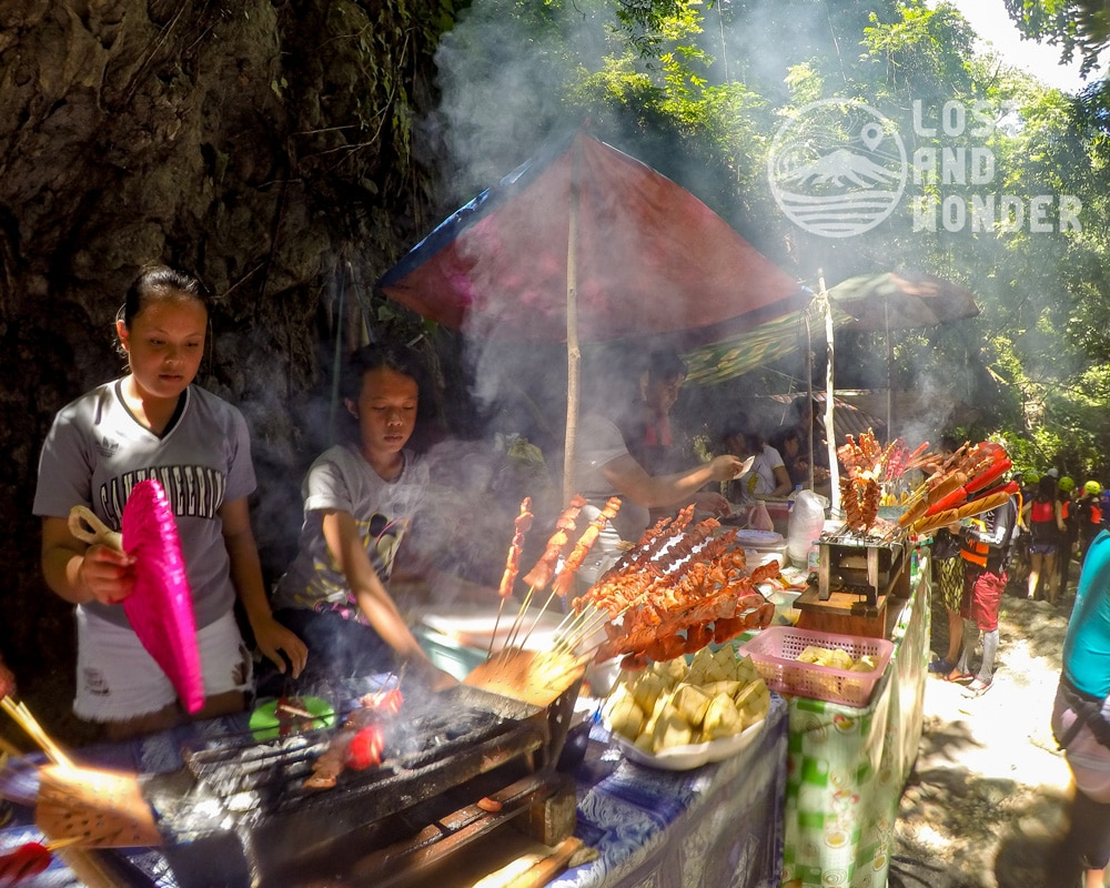 Photo of food stalls in the middle of the Kawasan Canyoneering
