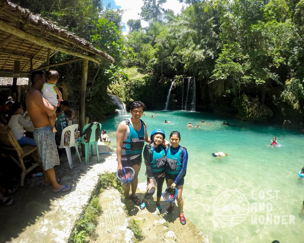 Photo at the second level of Kawasan Falls.