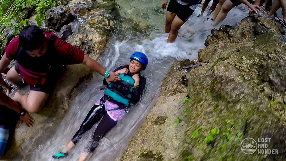 Photo of a natural slide in Kawasan Falls