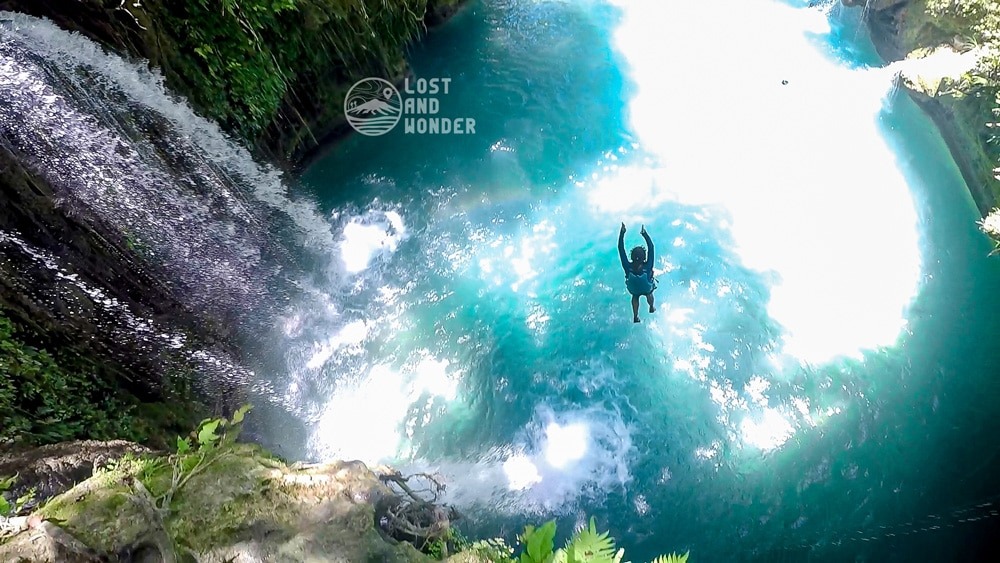 Photo of cliff jumping in Kawasan Falls